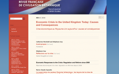 Economic Crisis in the UK Today: Causes and Consequences – Revue Française de Civilisation Britannique